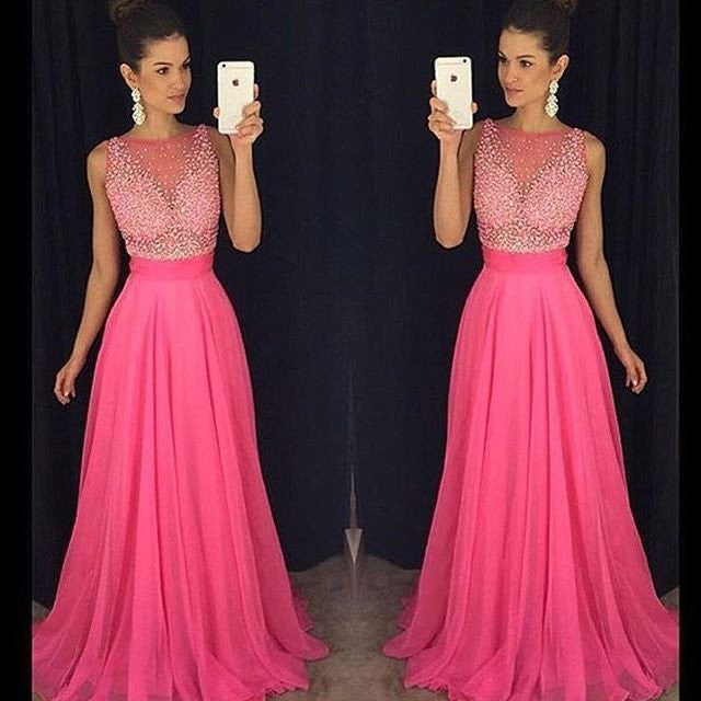 hot pink prom dress,long prom Dress,cheap Prom Dress,2017 prom dress,beaded prom dress,BD3922 - dream dress