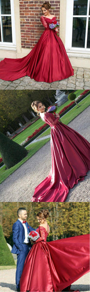 burgundy prom dress,long prom Dress,cheap Prom Dress,lace sleeves prom dress,A-line prom dress,BD3911