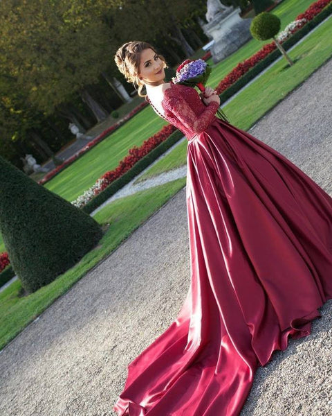 burgundy prom dress,long prom Dress,cheap Prom Dress,lace sleeves prom dress,A-line prom dress,BD3911 - dream dress