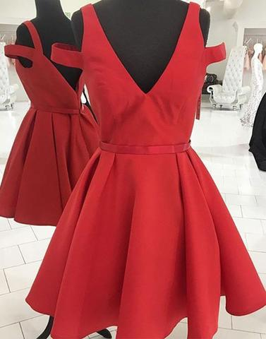 Cute red v neck short prom dress, evening dress,PD2075