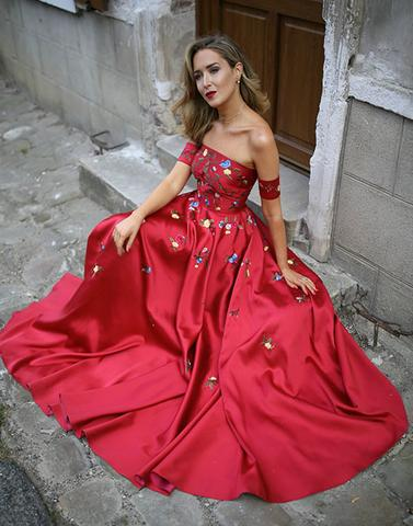 2018 Red applique satin long prom dress, red evening dress,PD1901
