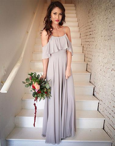 Simple chiffon long prom dress, bridesmaid dress,PD2067