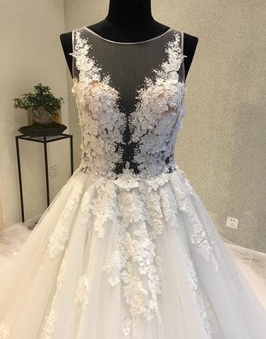 White round neck tulle applique long prom dresses,wedding dresses,PD24004