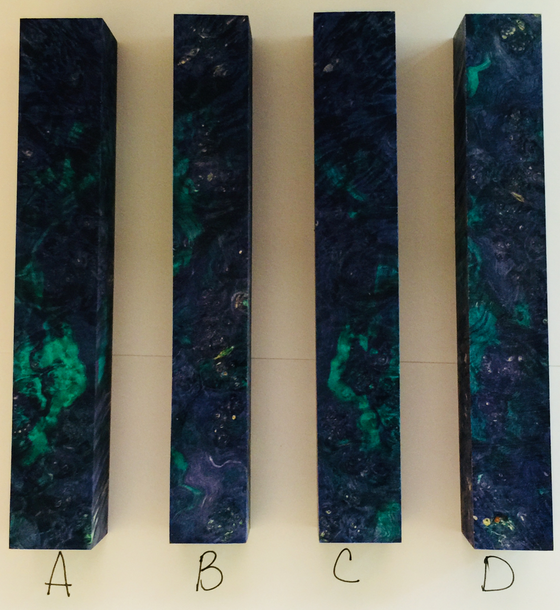 Stabilized and Dyed Purple and Teal Blanks by Jon Lesher