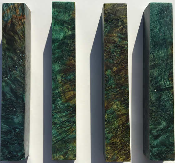 Stabilized and Dyed Green and Teal Blanks by Jon Lesher
