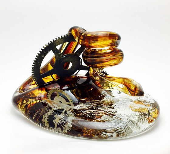 Glass Art Steam Punk Pen Holder by Neil & C. Lyon L#SP1