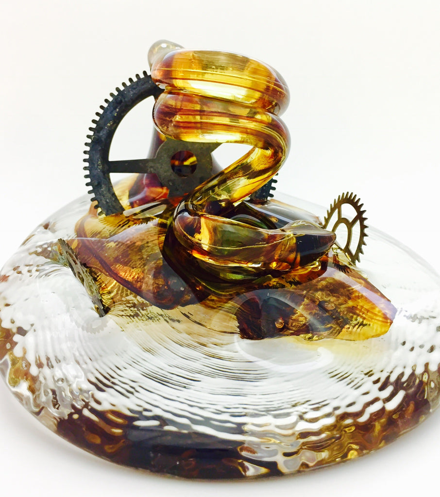 Glass Art Steam Punk Pen Holder by Neil & C. Lyon XL#SP5
