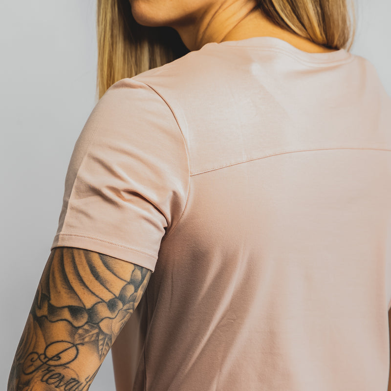 Pocket Scoop Tee- Blush
