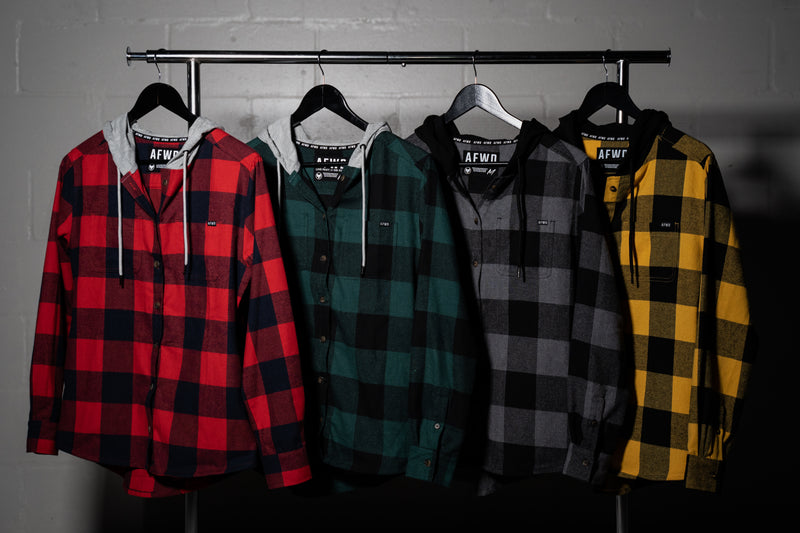 Hooded Flannel - Black/Grey