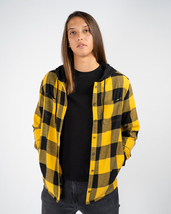 Hooded Flannel - Yellow/Black