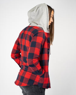 Hooded Flannel - Red/Navy