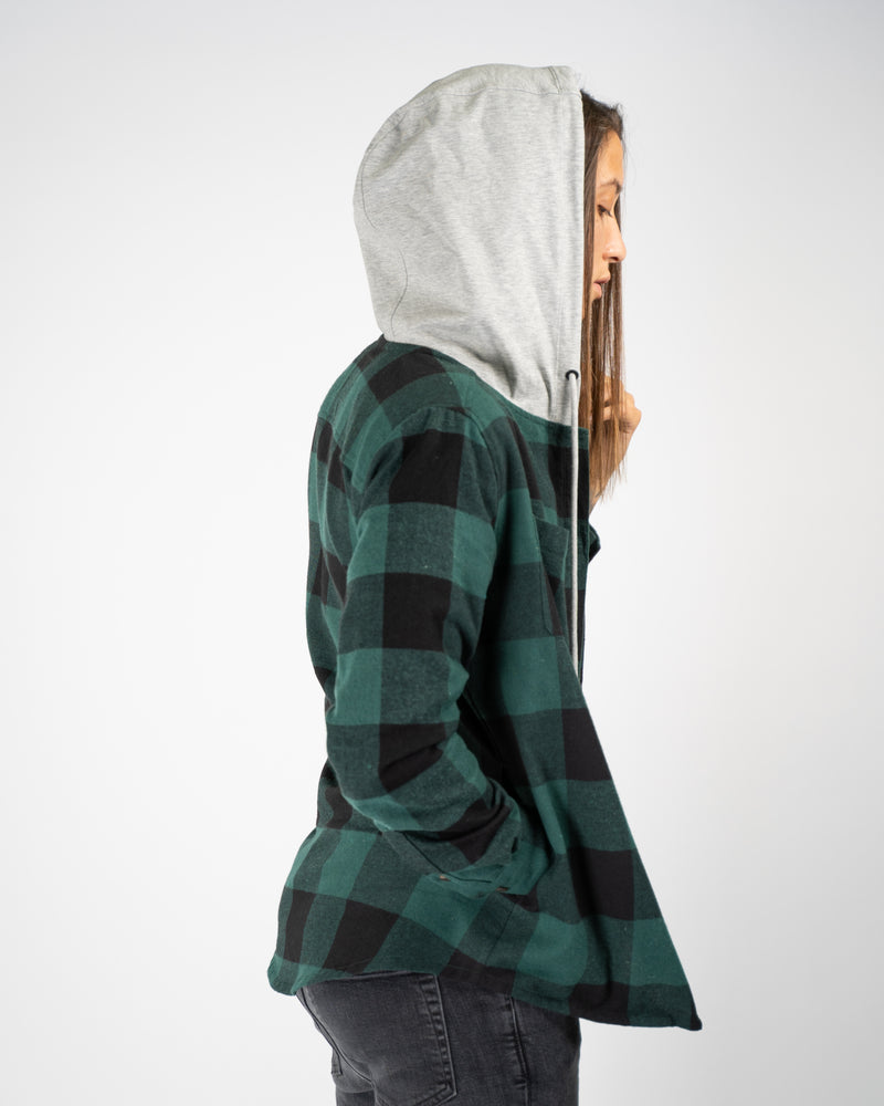 Hooded Flannel - Green/Black