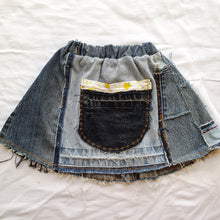 Load image into Gallery viewer, Denim skirt - Yellow vintage trim Size 2-3