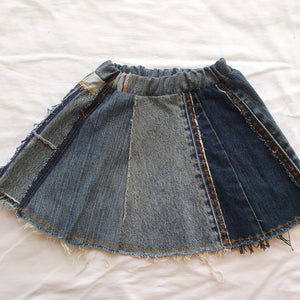 Denim skirt - Yellow vintage trim Size 2-3