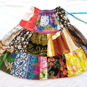 Size 2-3 Girls Soul Vibration patchwork skirts - Upcycled Vintage tribal patchwork maxi