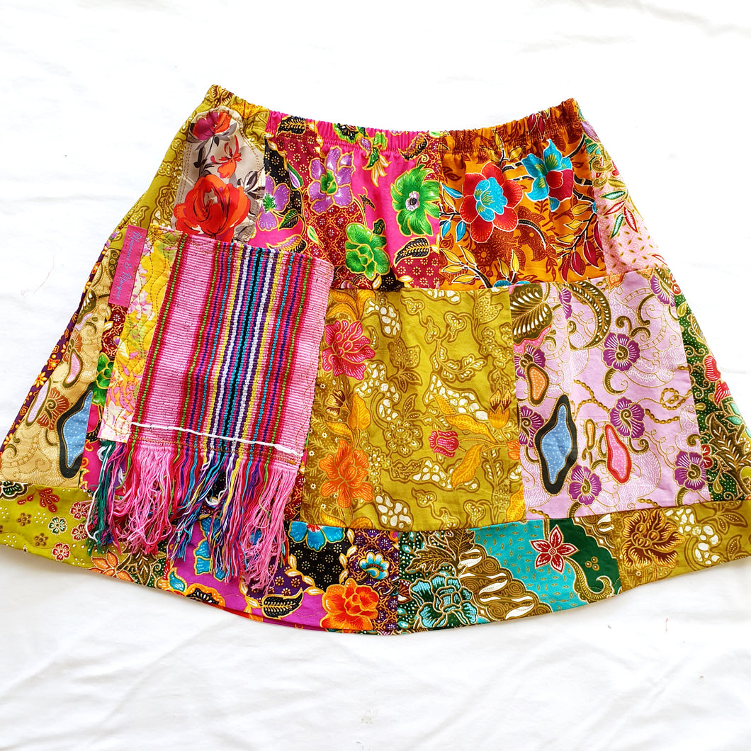 Ladies Soul Vibration Patchwork skirts - short batik Size 6-8