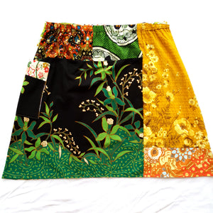 Ladies Soul Vibration Patchwork skirts - Black/green/autumn leaves Size 10-12