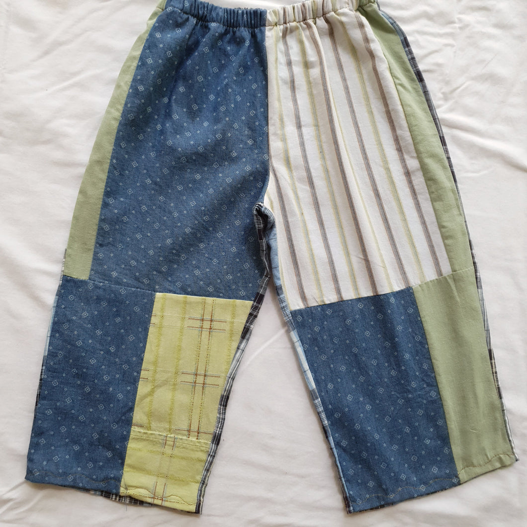 Patchwork shirt pants - Blue plaid back Size 2