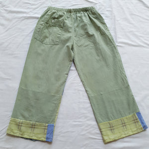 Patchwork shirt pants - Sage green back Size 4