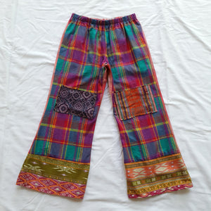 Patchwork shirt pants - Bright plaid with knee patches Size 5