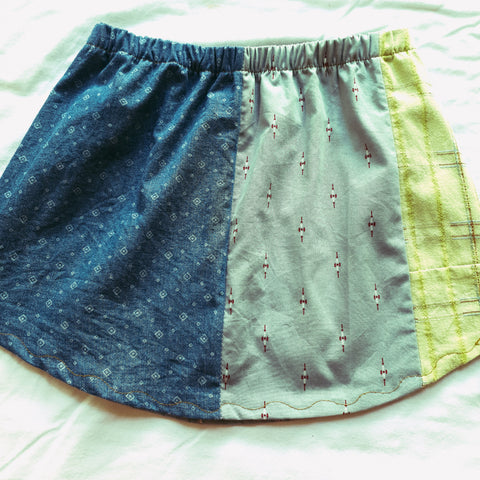 Upcycled shirt skirts - Patchy Size 2-3