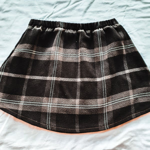 Upcycled shirt skirts - Brown Flannel Size 3-4