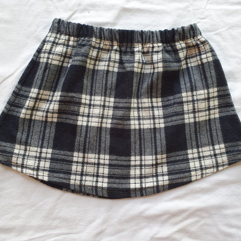 Upcycled shirt skirts - Navy Flannel Size 1-2