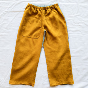 Upcycled shirt pants - Mustard/Blue Size 5