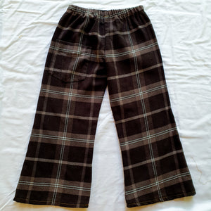 Upcycled shirt pants - Brown Flannel Size 4-5