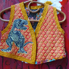 Load image into Gallery viewer, Size 7-8 dinosaur t-rex quilted vest