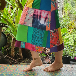 Custom for Nellie 💜🌿💐 - Ladies handmade patchwork t-skirt, upcycled a-line stretch skirt OOAK