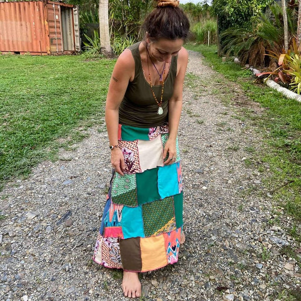 Size 8-12 Ladies handmade patchwork t-skirt, upcycled a-line stretch skirt OOAK
