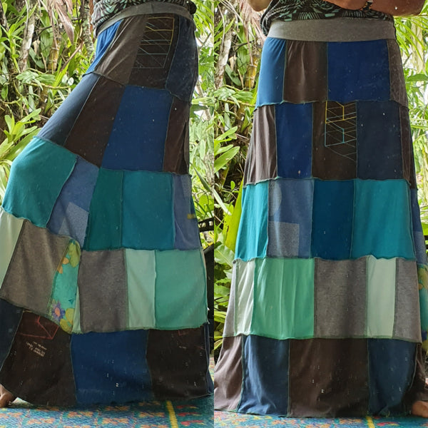 Custom order maxi t-skirt - Ladies handmade patchwork t-skirt, upcycled a-line stretch skirt OOAK