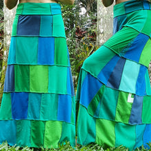 Load image into Gallery viewer, Custom order maxi t-skirt - Ladies handmade patchwork t-skirt, upcycled a-line stretch skirt OOAK