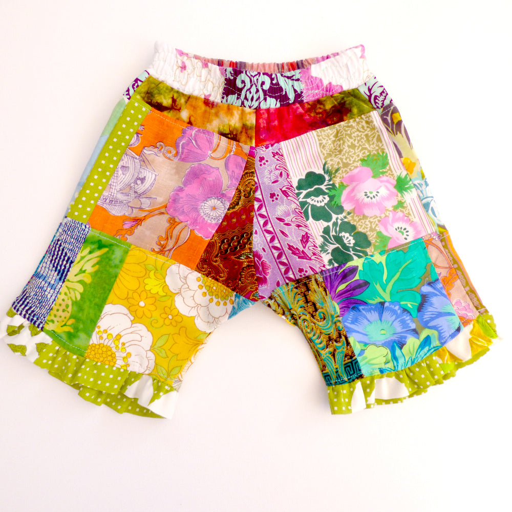Upcycled patchwork toddler shorts Size 0-1