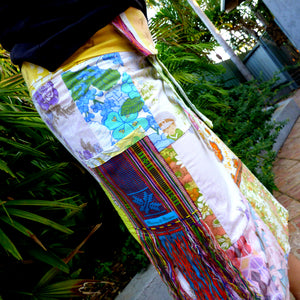 Upcycled vintage patchwork fisherman's wrap skirt