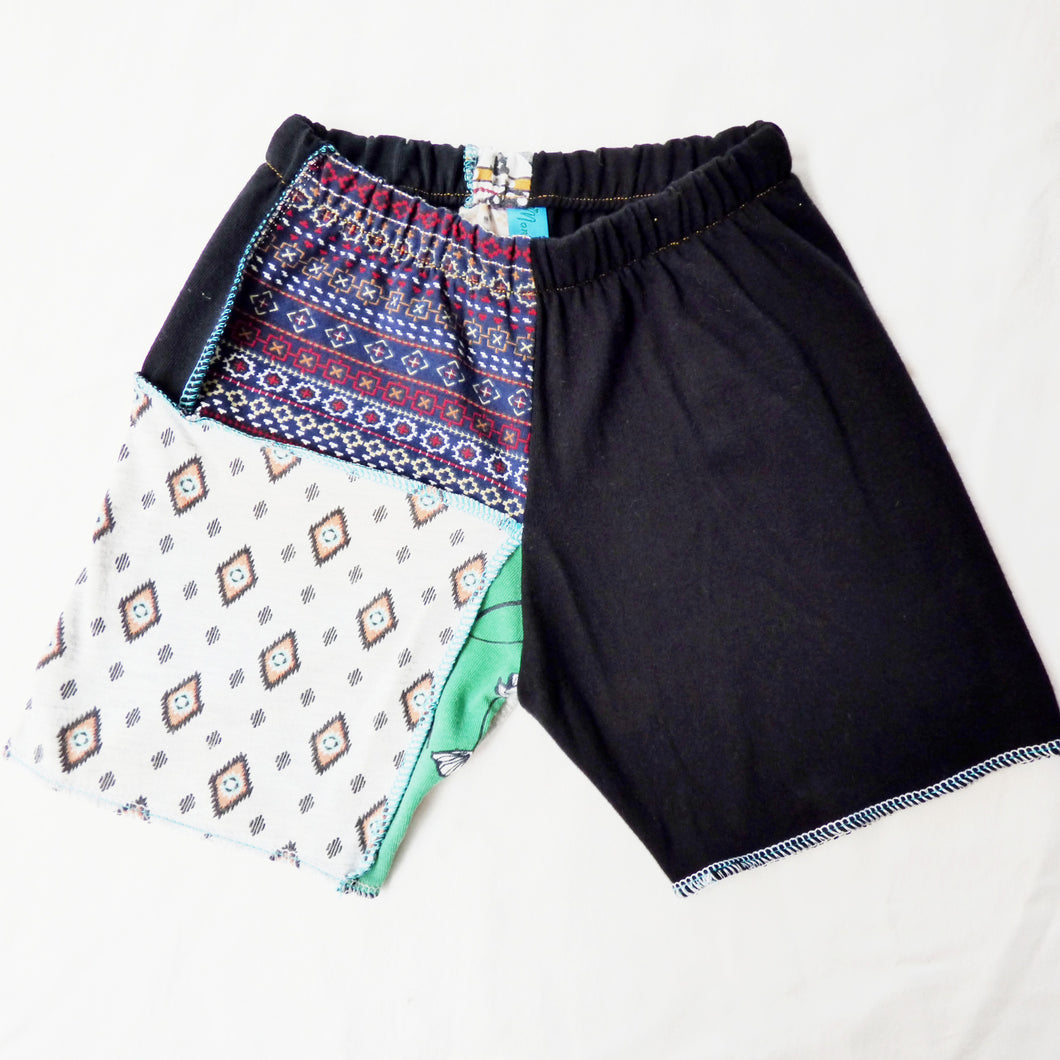 Size 1 Upcycled stretch patchwork shorts