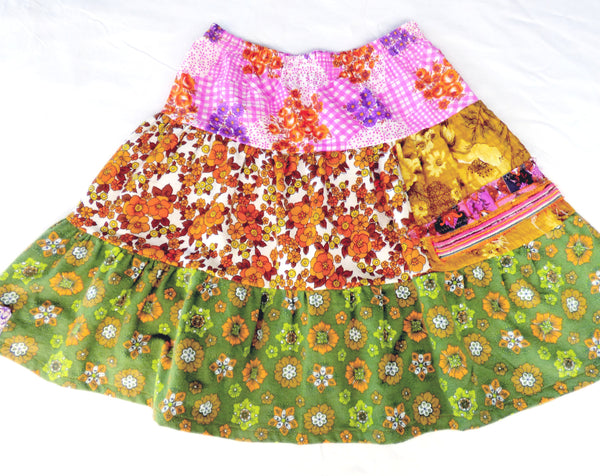 Size 8-10 or ladies XS - Upcycled vintage floral skirt
