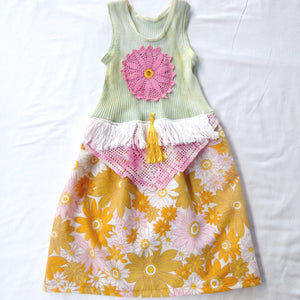 Size 3-6 months - Upcycled baby dress with vintage floral, doilies, tassel and fringe