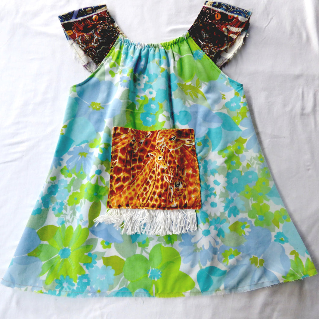Size 5-6 Swing top Vintage with indigenous patchwork sleeves
