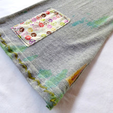 Load image into Gallery viewer, Size 6-7 upcycled tie dyed pants with peace applique