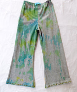 Size 6-7 upcycled tie dyed pants with peace applique