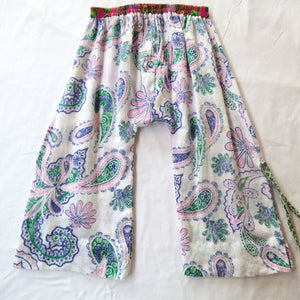 Size 4-5 wide-leg pants upcycled paisley linen side splits