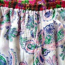 Load image into Gallery viewer, Size 4-5 wide-leg pants upcycled paisley linen side splits