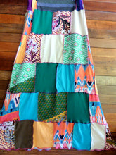 Load image into Gallery viewer, Size 8-12 Ladies handmade patchwork t-skirt, upcycled a-line stretch skirt OOAK