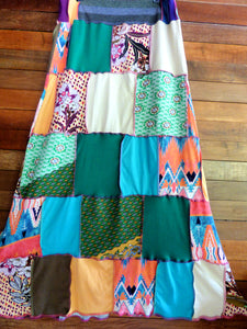 Custom for Rachael - Ladies handmade patchwork t-skirt, upcycled a-line stretch skirt OOAK