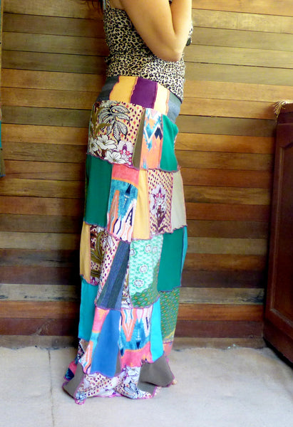 Custom for Nicole - Ladies handmade patchwork t-skirt, upcycled a-line stretch skirt OOAK
