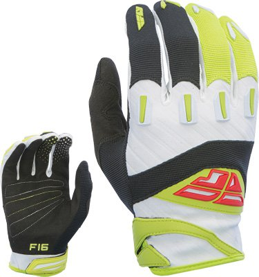 Fly Racing Unisex-Adult F-16 Gloves (Black/Lime) size 12