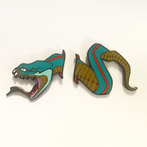 Color Snake Two-Piece Lapel Pin
