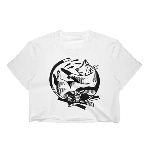 Cat Skull Crop Top